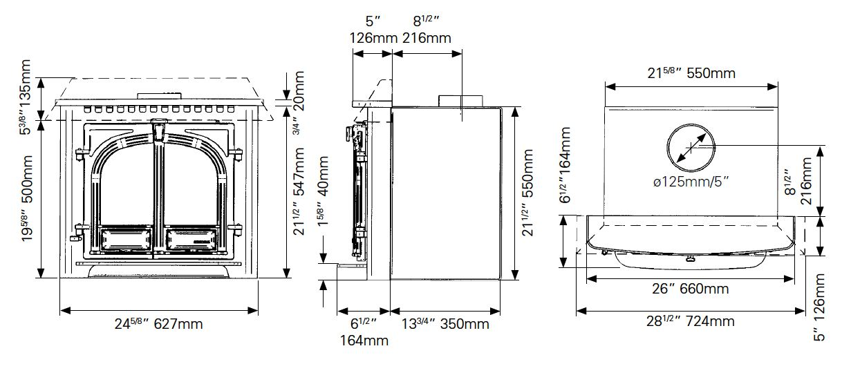Stoves Stove Dimensions