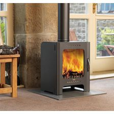 A contemporary wood burning stove