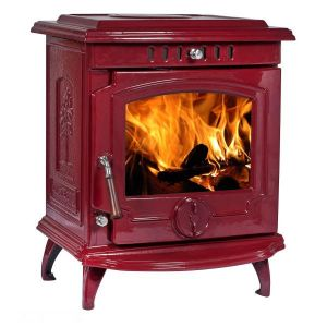 Lilyking 659 Red Enamel Multi Fuel Stove