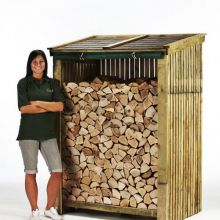 Log Store with Felt Tiled Roof